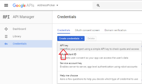 Get API Key from Create Credentials